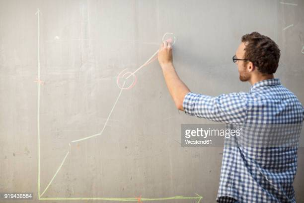 Man drawing a graph with chalk on a concrete wall