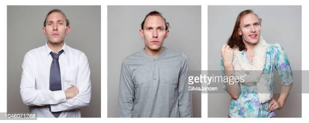 """hombre vestido y actuando en roles de género diferentes """"u2013 masculinos y femeninos - crossdresser fotografías e imágenes de stock"""