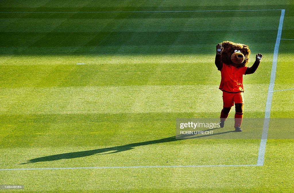 A man dressed as a bear walks on the pla : News Photo