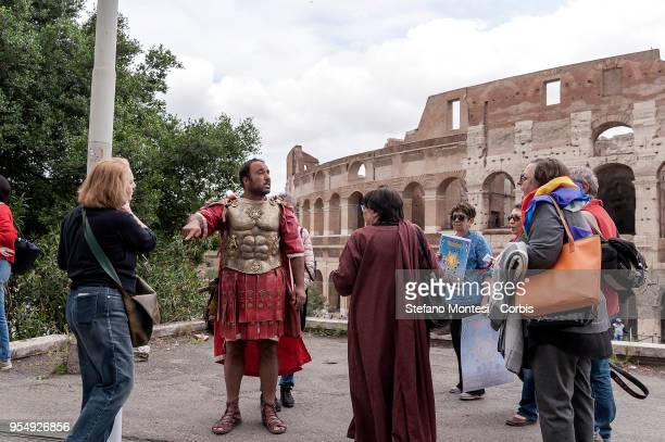 A man dressed as a centurion declares himself Jewish threatens the protesters by interrupting their flashmob at Colosseum for the freedom and dignity...