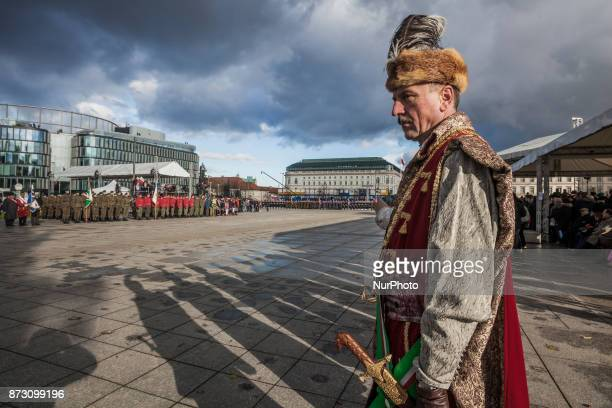 Man dressed as a cossack in the celebrations of the Independence Day in Warsaw Poland On Saturday 11 November 2017 in Warsaw Poland