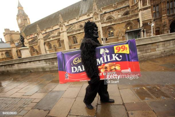 A man dressed as a gorilla carries a poster of a giant Cadbury chocolate bar during a protest organised by the Unite union outside the Houses of...
