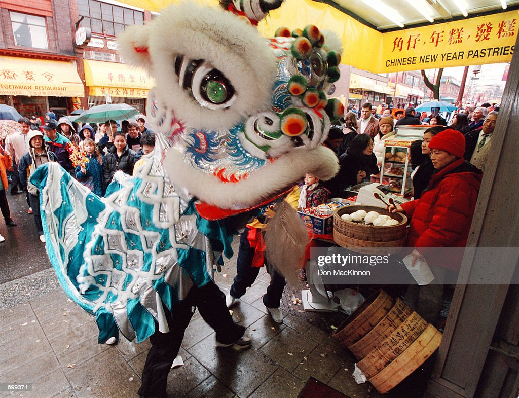 a man dressed as a lion entertains the crowd february 17 2002 during the year - Chinese New Year 2002