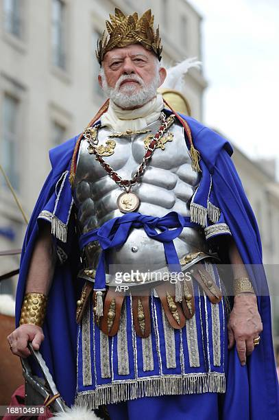 Man dressed as a Roman emperor takes part in a historical reenactment in the forecourt of the Maison Carree in Nimes, southern France, on May 5,...