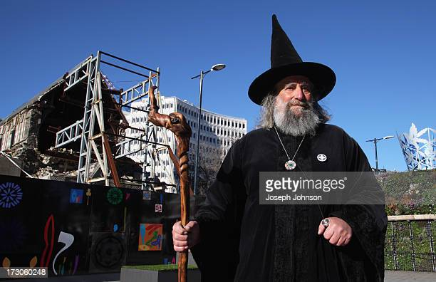 Man dressed as a wizard looks on as the Christchurch Public were invited to look at the art, new seating, planters and performance space after...