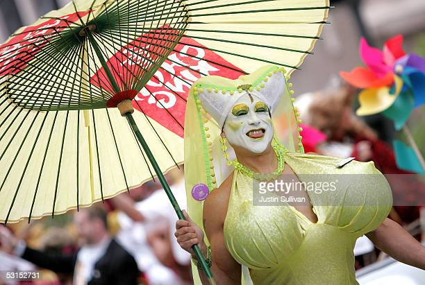 Man dressed as a woman with large brests marches during the 2005 San Francisco Pride Parade June 26, 2005 in San Francisco, California. Tens of...