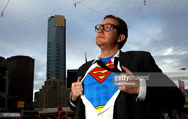 Man dressed as Clark Kent poses as Melburnians participate in a Guinness World Record attempt for the most number of people dressed in superhero...