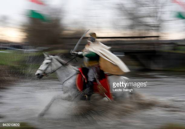 A man dressed as Hungarian Hussars during a reenactment of the Battle of Tapiobicske on April 4 2018 near Cegled Hungary The 1848 battle was an...