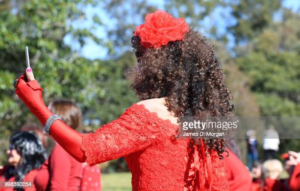 Man dressed as Kate Bush takes a selfie in a park on July 14, 2018 in Sydney, Australia. The Most Wuthering Heights Day is when people all around the...
