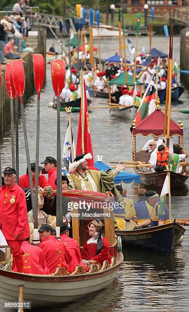 A man dressed as King Henry VIII stands in a flotilla of boats at Teddington Lock on the River Thames on June 20 2009 in London A weekend of events...