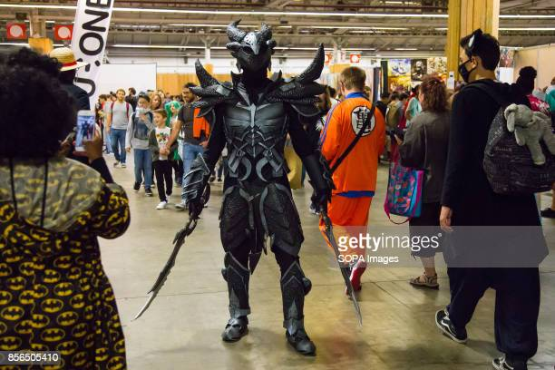 A man dressed as manga character is pictured during the 24th edition of the Paris Manga SciFi Show mostly devoted to Japanese entertainment and...