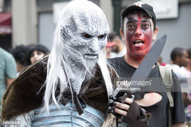 A man dressed as White Walkers takes part in the Zombie Walk event during the Carnival on February 26 in Curitiba Brazil Carnival of Brazil is an...