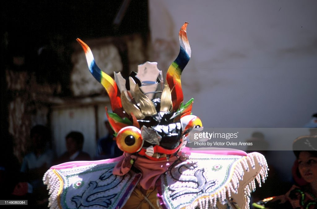 Man dressed for diablada puneña festival in Puno, Peru : Foto de stock