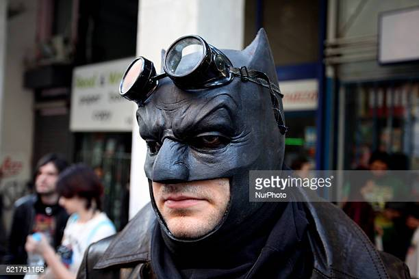 Man dressed in Batman costumes stand for a photo during Comicdom Con Festival a threeday comics festival took place at the Hellenic American Union in...