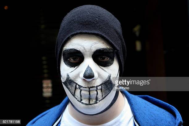 Man dressed in costumes stand for a photo during Comicdom Con Festival a threeday comics festival took place at the Hellenic American Union in Athens...