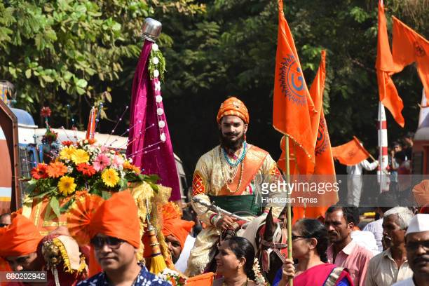 A man dressed in traditional attire celebrating 'Gudi Padwa' or the Maharashtrian New Year at Sanpada in Navi Mumbai on March 28 2017 in Mumbai India...
