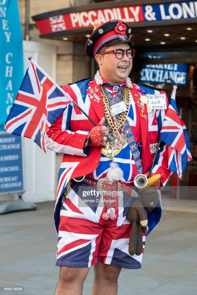 A man dressed in Union Jack clothing working outside a souvenir store in Piccadilly Circus on May 15, 2018 in London, England. The Royal Wedding between Prince Harry and Meghan Markle will be held at Windsor Castle in Berkshire on May 19, 2018.