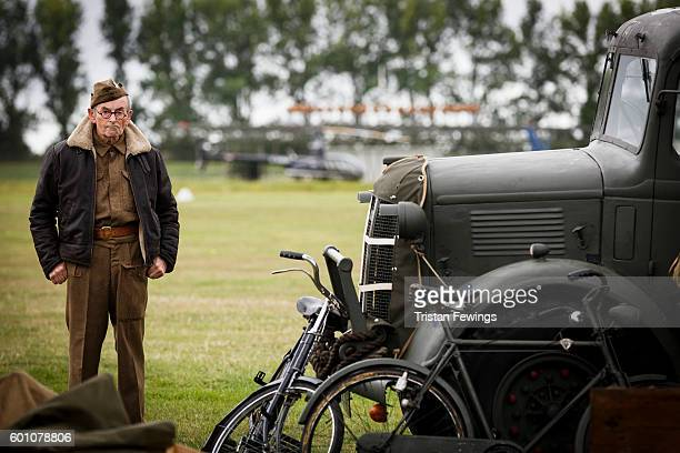 A man dressed in vintage World War II clothes attends Goodwood Revival at Goodwood on September 9 2016 in Chichester England