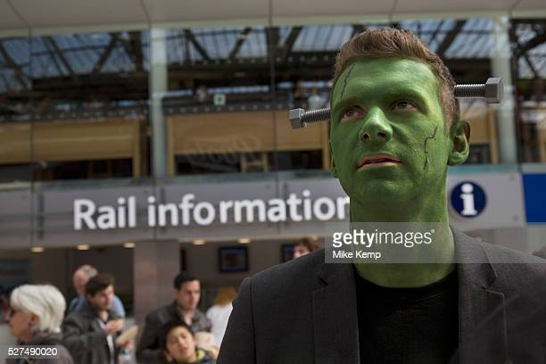 man dressed up as Frankenstein in crazy costumes at Waterloo station on their way to the Rugby Sevens tournament Fans of this sport have developed...
