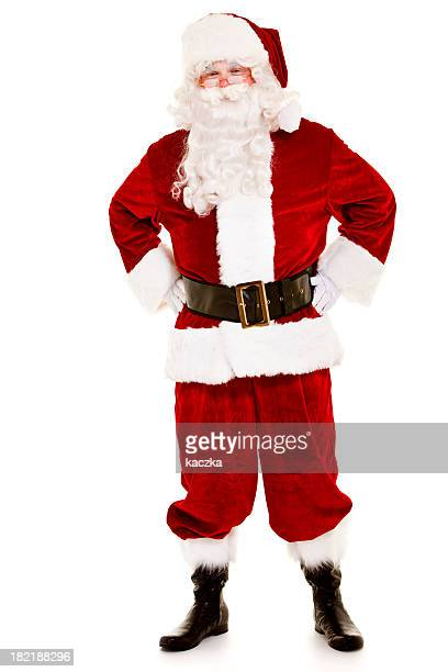 Man dressed up as Santa Claus standing on white background
