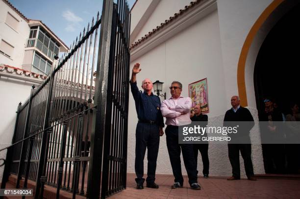 A man dressed up in the uniform of the 'Falange Española de las JONS' fascist political party do the fascist salute during funerals for former Franco...