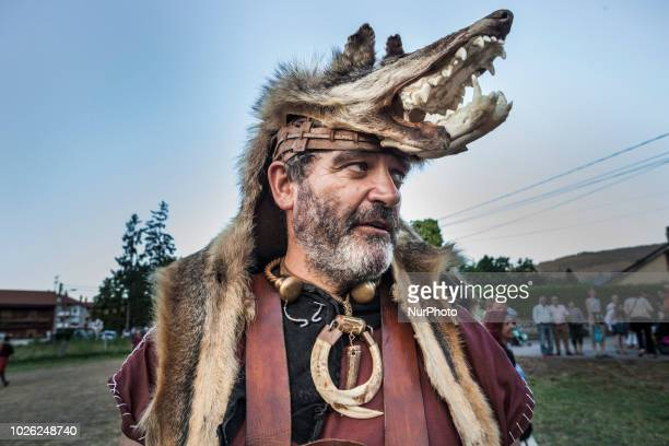 Man dressed with ancient animal costumes during the celebrations of the recreation of the cantabrian wars in Los Corrales de Buelna Spain on 1st...