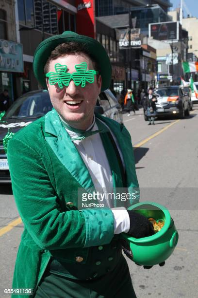 Man dressedup during the St Patrick's Day Parade in Toronto Ontario Canada on March 19 2017