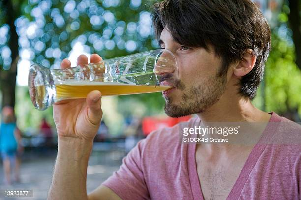 Man drinking beer in beer garden