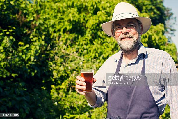 Man drinking real ale beer