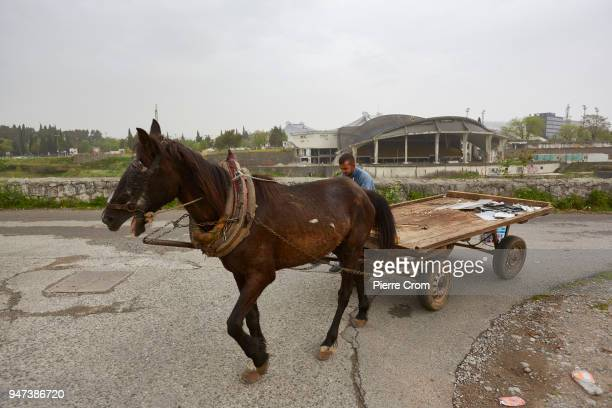 A man drives a horsedrawn cart on April 17 2018 in Podgorica Montenegro