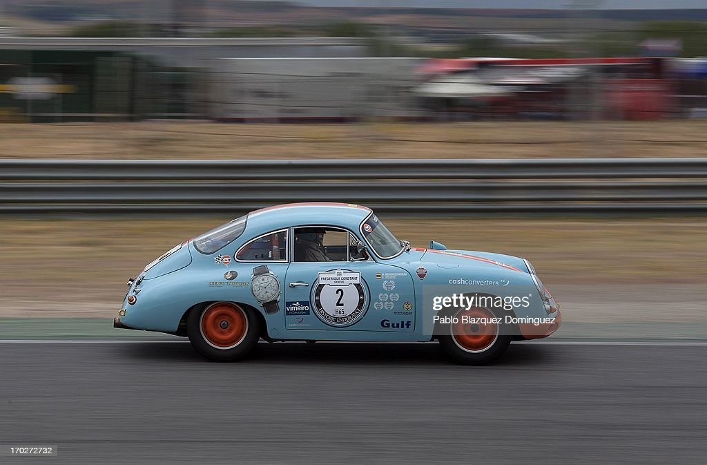 A man drives a Porsche 911 SC at the Jarama Circuit on June 9, 2013 in Madrid, Spain. The Jarama Vintage Festival seeks to revive the 1960s, 70s and 80s attracting classic cars and motorbikes against a background of public orientated activities and shows.