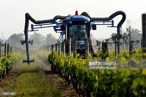 A man drives through a wineyard with a tractor equipped with sulphate sprayers on May 24 2012 in Macau near Bordeaux AFP PHOTO JEAN PIERRE MULLER