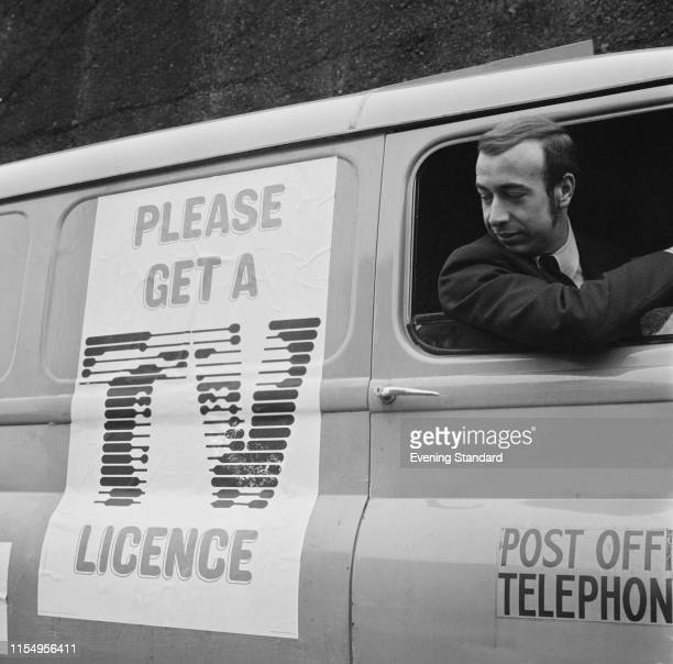 A man driving a Post Office television detector vans at Battersea Depot London UK 5th February 1970
