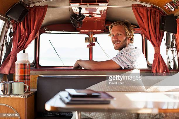 Man driving camper van