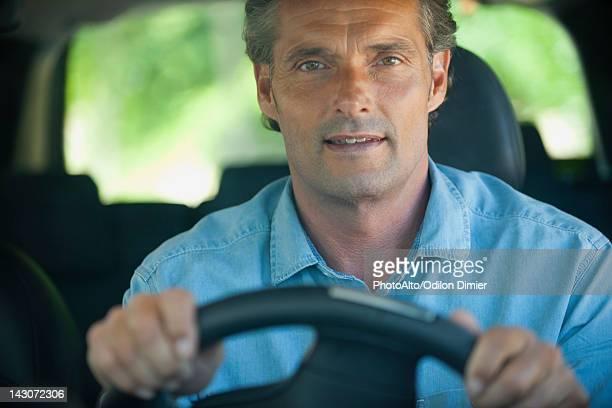 Man driving car, portrait