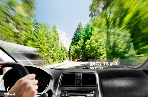 Man driving in Yosemite Park
