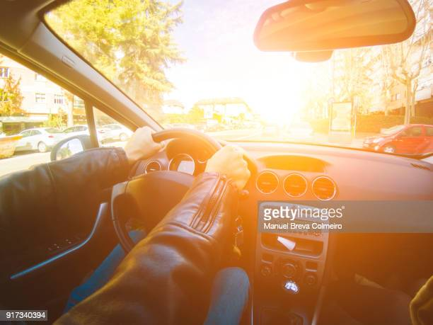 man driving - hybrid car stock photos and pictures