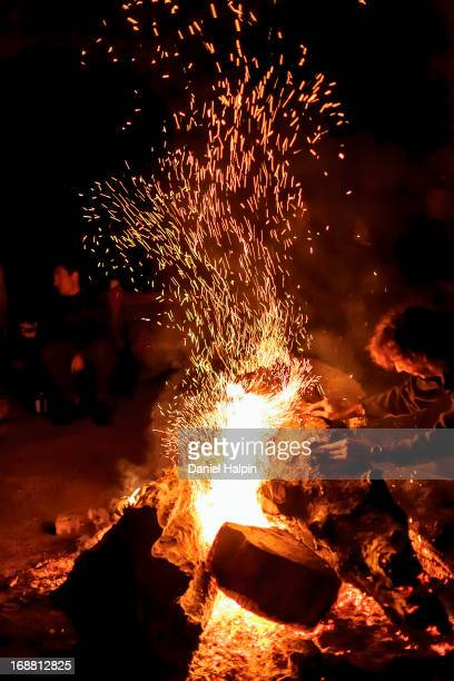 CONTENT] Man dropping log on camp fire at night