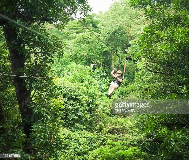 Mann auf einer Baldachin-Tour von Costa Rica