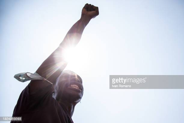 """Man during an anti-racist demonstration on June 17, 2021 in Naples, Italy. The movement """"Migrants and Refugees Naples"""" has protested against the..."""