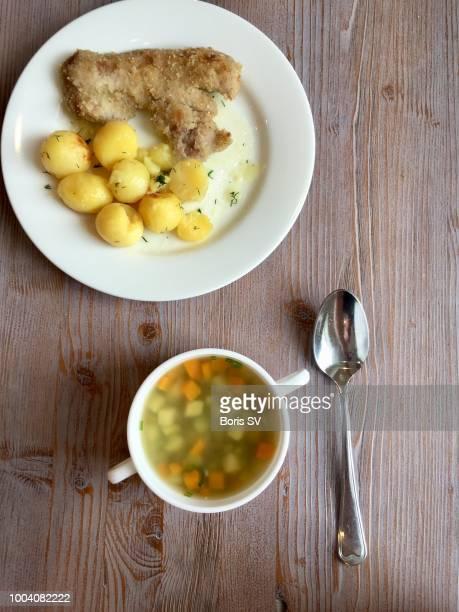 man eating lentil soup and tonkatsuj - yōshoku imagens e fotografias de stock