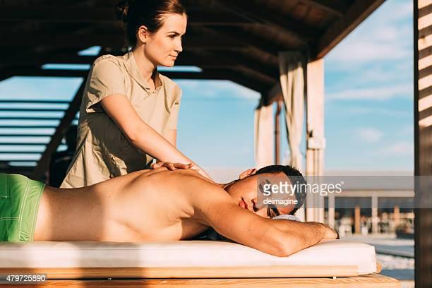Man enjoy spa massage