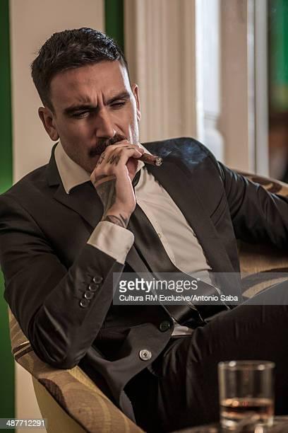 Man enjoying cigar