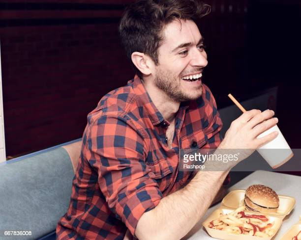 Man enjoying fast food