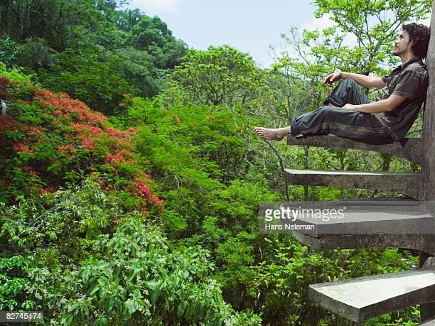 man enjoying his surroundings - las posas stock pictures, royalty-free photos & images