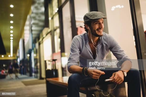 Man enjoying music alone