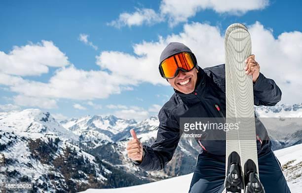 Man enjoying skiing