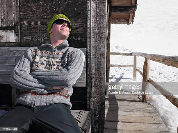Man enjoying sun on terrace