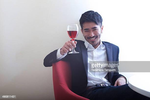 Man enjoying wine