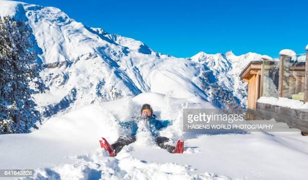 Man enjoys the fresh powder snow